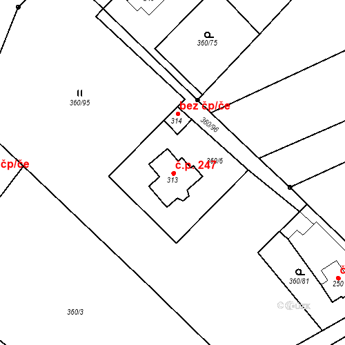 Katastrální mapa Stavební objekt Vernéřov 247, Aš