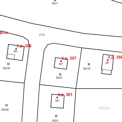 Katastrální mapa Stavební objekt Libá 357, Libá