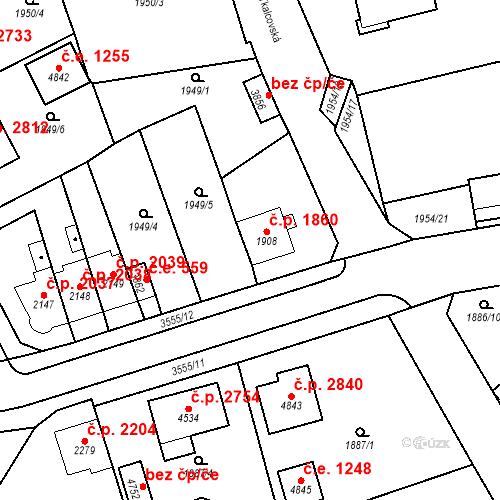 Katastrální mapa Stavební objekt Aš 1860, Aš