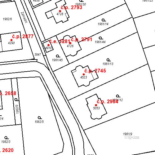 Katastrální mapa Stavební objekt Aš 2745, Aš
