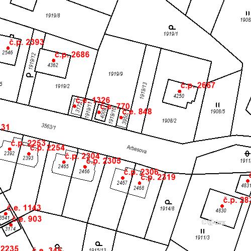 Katastrální mapa Stavební objekt Aš 848, Aš