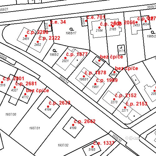 Katastrální mapa Stavební objekt Aš 1878, Aš