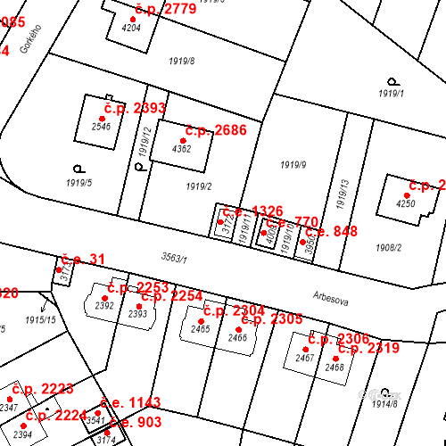 Katastrální mapa Stavební objekt Aš 1326, Aš