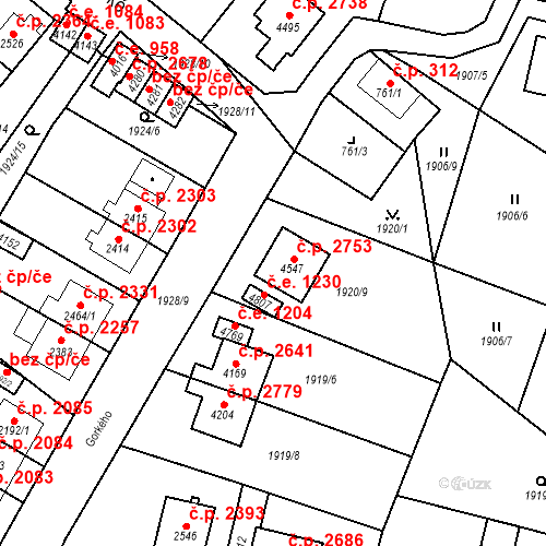 Katastrální mapa Stavební objekt Aš 2753, Aš