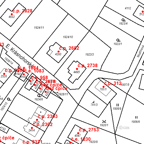 Katastrální mapa Stavební objekt Aš 2738, Aš