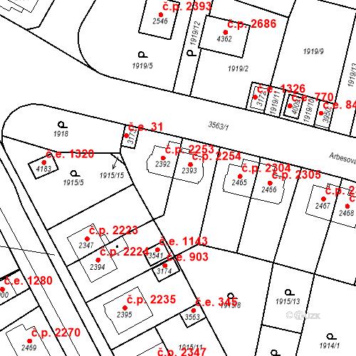 Katastrální mapa Stavební objekt Aš 2254, Aš