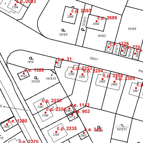 Katastrální mapa Stavební objekt Aš 2253, Aš