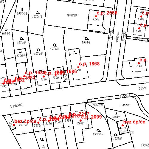 Katastrální mapa Stavební objekt Aš 1868, Aš