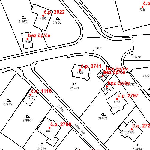 Katastrální mapa Stavební objekt Aš 2741, Aš