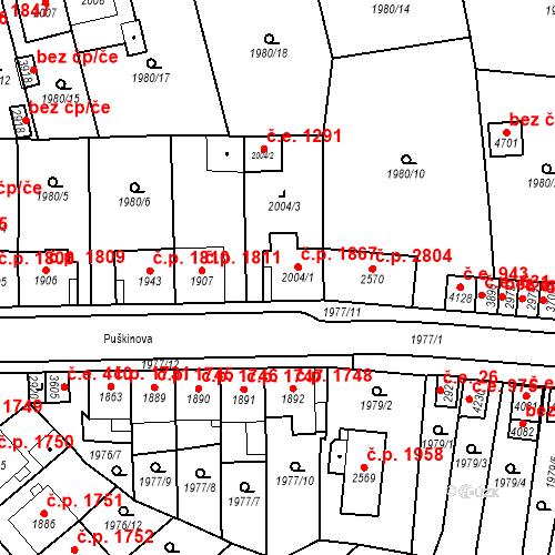 Katastrální mapa Stavební objekt Aš 1867, Aš