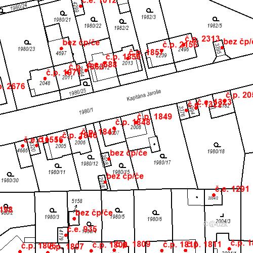 Katastrální mapa Stavební objekt Aš 1849, Aš