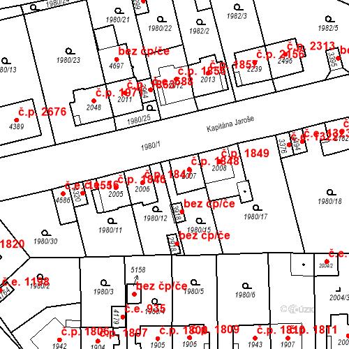 Katastrální mapa Stavební objekt Aš 1848, Aš