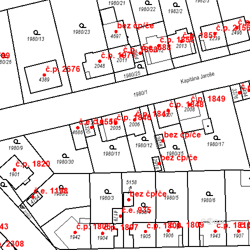 Katastrální mapa Stavební objekt Aš 1847, Aš
