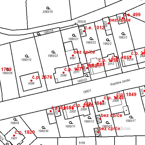 Katastrální mapa Stavební objekt Aš 1863, Aš