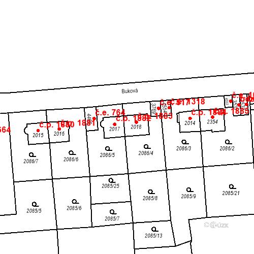 Katastrální mapa Stavební objekt Aš 1883, Aš