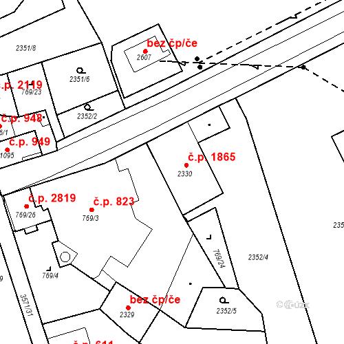 Katastrální mapa Stavební objekt Aš 1865, Aš