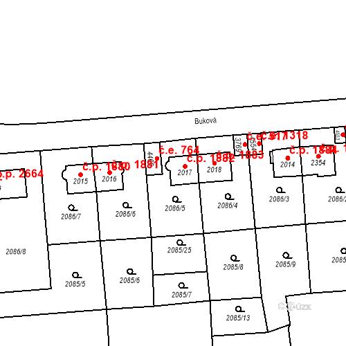 Katastrální mapa Stavební objekt Aš 1882, Aš