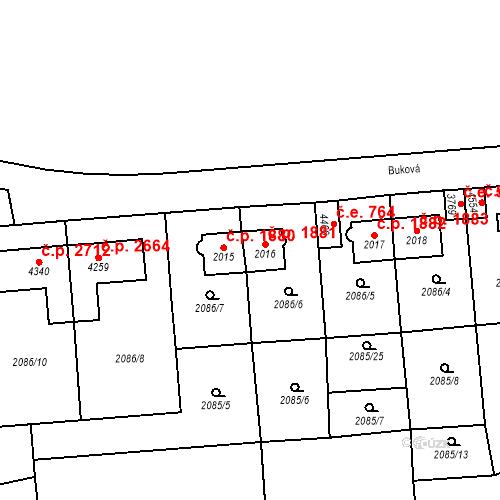 Katastrální mapa Stavební objekt Aš 1881, Aš