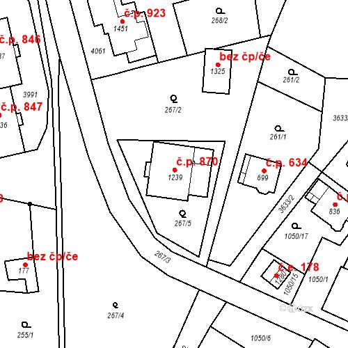 Katastrální mapa Stavební objekt Hranice 870, Hranice