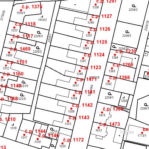 Katastrální mapa Stavební objekt Aš 1123, Aš