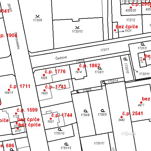 Katastrální mapa Stavební objekt Aš 1862, Aš