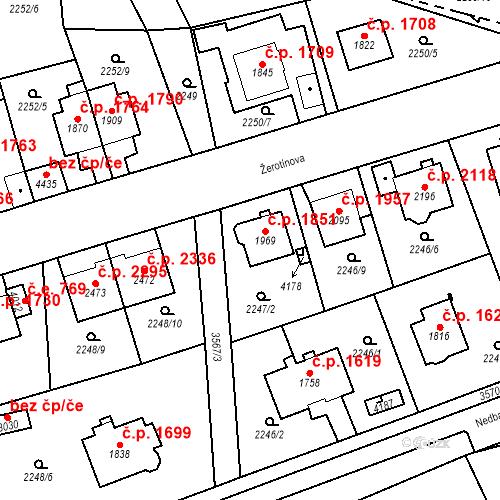 Katastrální mapa Stavební objekt Aš 1851, Aš