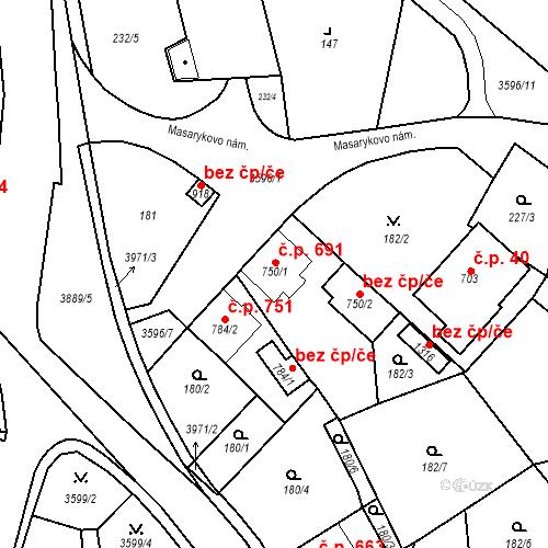Katastrální mapa Stavební objekt Hranice 691, Hranice