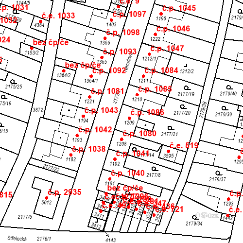 Katastrální mapa Stavební objekt Aš 1086, Aš