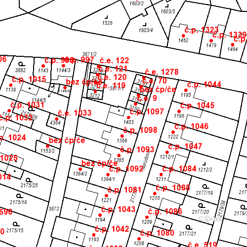 Katastrální mapa Stavební objekt Aš 1097, Aš