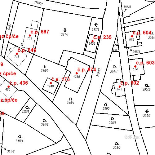 Katastrální mapa Stavební objekt Hranice 874, Hranice