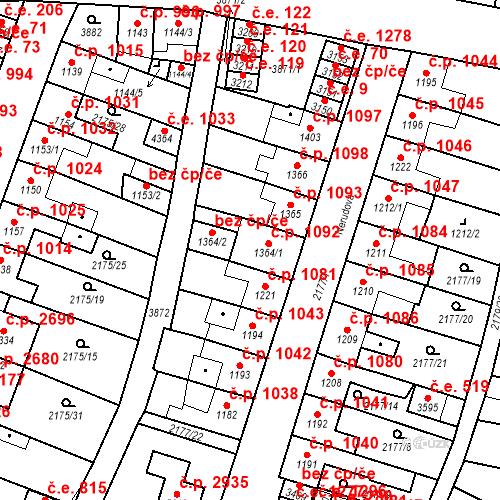 Katastrální mapa Stavební objekt Aš 1092, Aš