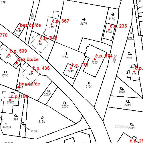 Katastrální mapa Stavební objekt Hranice 173, Hranice