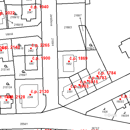 Katastrální mapa Stavební objekt Aš 1869, Aš