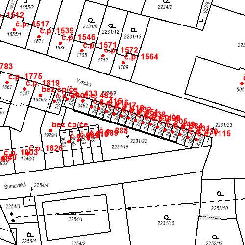 Katastrální mapa Stavební objekt Aš 432, Aš