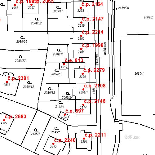 Katastrální mapa Stavební objekt Aš 2279, Aš