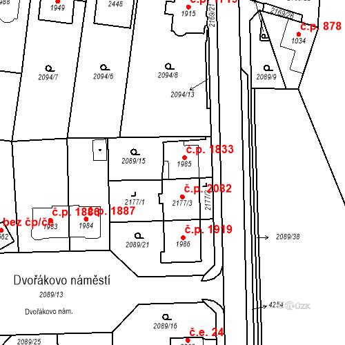 Katastrální mapa Stavební objekt Aš 1833, Aš