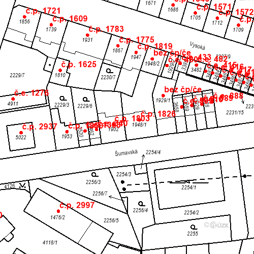 Katastrální mapa Stavební objekt Aš 1826, Aš