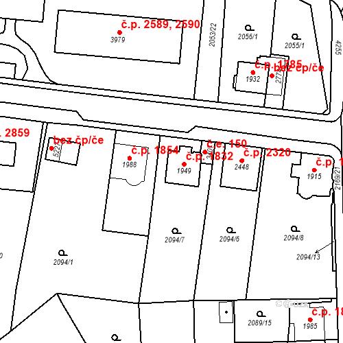 Katastrální mapa Stavební objekt Aš 1832, Aš