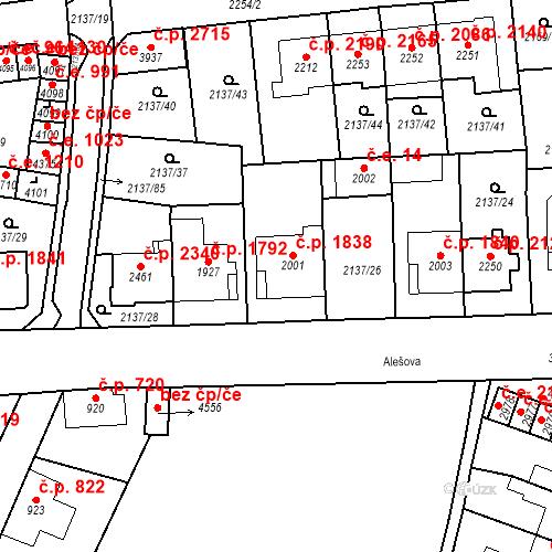 Katastrální mapa Stavební objekt Aš 1838, Aš
