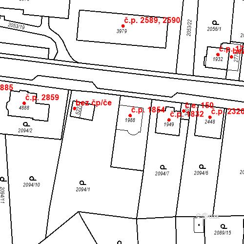 Katastrální mapa Stavební objekt Aš 1854, Aš