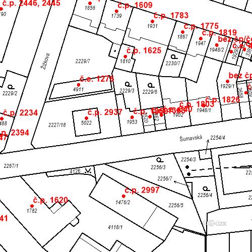 Katastrální mapa Stavební objekt Aš 1850, Aš