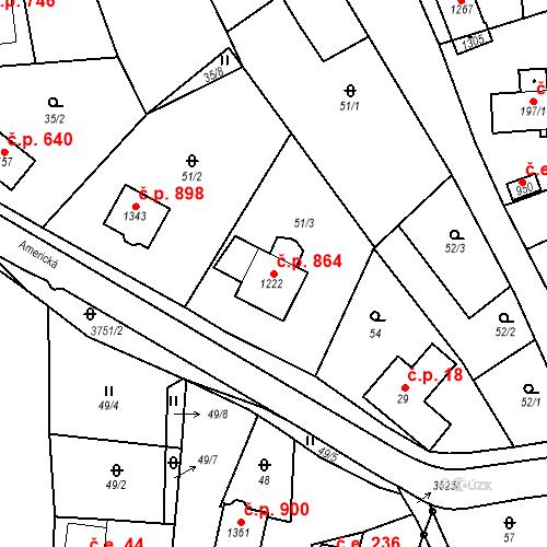 Katastrální mapa Stavební objekt Hranice 864, Hranice