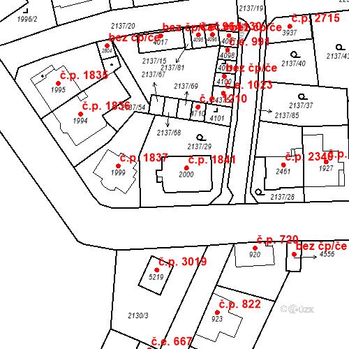 Katastrální mapa Stavební objekt Aš 1841, Aš