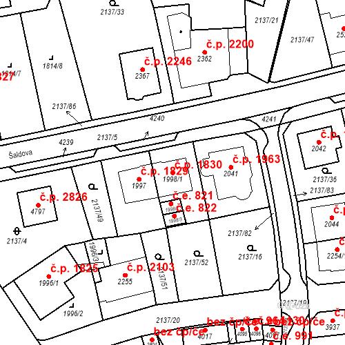 Katastrální mapa Stavební objekt Aš 1830, Aš