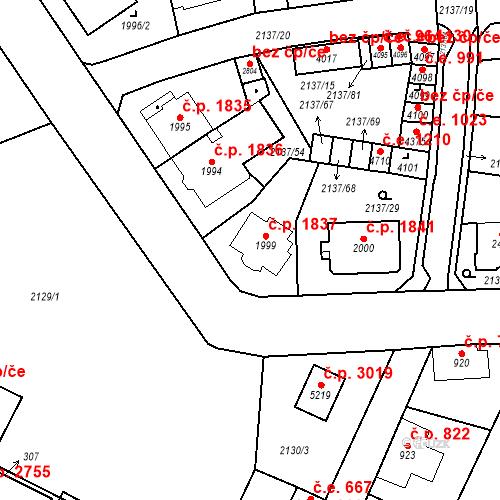 Katastrální mapa Stavební objekt Aš 1837, Aš