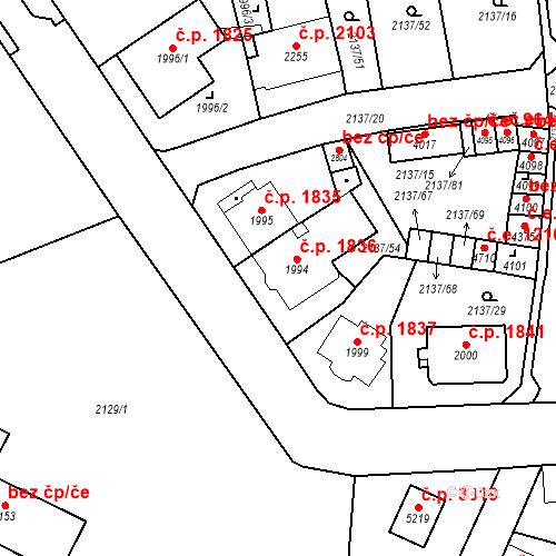 Katastrální mapa Stavební objekt Aš 1836, Aš