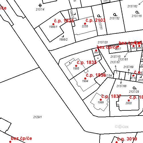 Katastrální mapa Stavební objekt Aš 1835, Aš