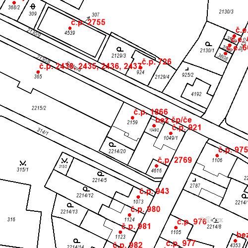Katastrální mapa Stavební objekt Aš 1866, Aš