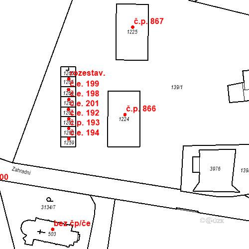 Katastrální mapa Stavební objekt Hranice 866, Hranice