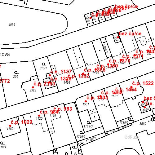 Katastrální mapa Stavební objekt Aš 1855, Aš